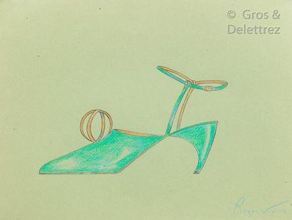 Roger Vivier (1907-1998) Circa 1963/ 1970  Projet de chaussure du soir aquarellé...