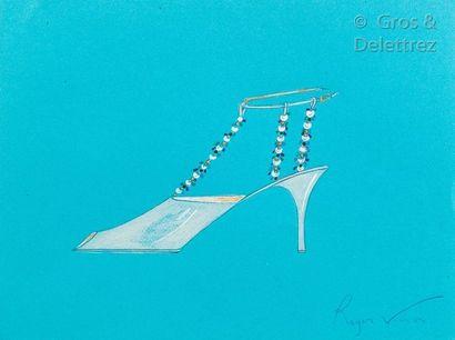 Roger Vivier (1907-1998) Circa 1963/ 1970 Projet d'escarpin ouvert pour le soir,...