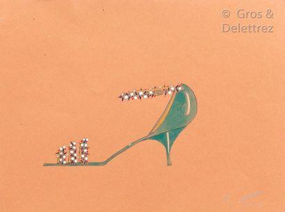 Roger Vivier (1907-1998) Circa 1963/ 1970 Projet de sandale aquarellée sur papier...