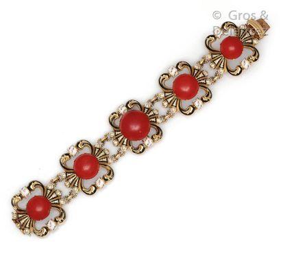 Bracelet articulé composé de maillons polylobés...