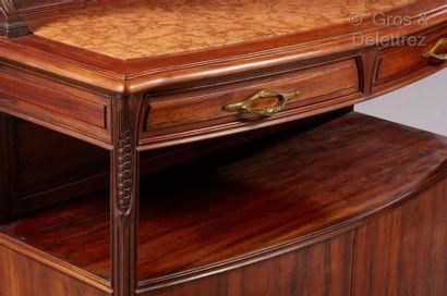 Louis MAJORELLE (1859-1926) Meuble desserte deux corps modèle « chicorée » en placage...
