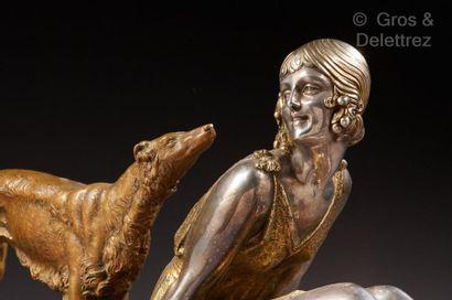 Demeter CHIPARUS (1886-1947) Sculpture en bronze à patine dorée et argentée figurant...