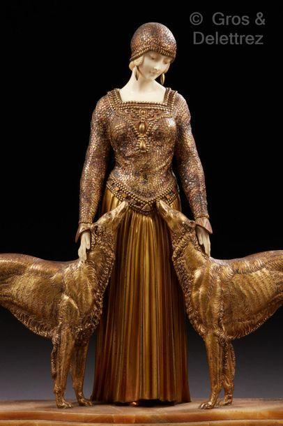 Demeter CHIPARUS (1886-1947) Les amis de toujours.  Importante et rare sculpture...