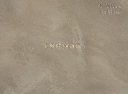 POMONE Vase balustre en dinanderie de métal.  Signé «?Pomone?». Vers 1940.  H?: 34...