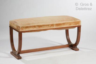 Jules LELEU (1883-1961) Banquette de piano deux places en palissandre à assise rectangulaire...