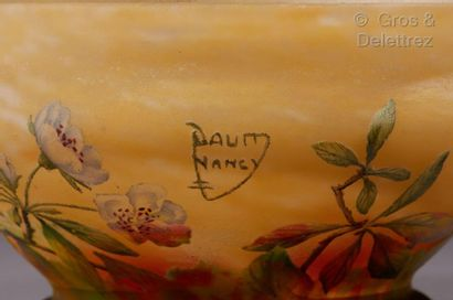 DAUM Nancy Cup on heel in multilayer glass with flower decoration in acid-free polychrome....
