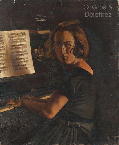 Ecole d'EUROPE de l'EST  La pianiste  Huile...