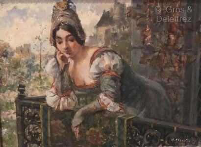 Henri ALBERTI (1868-1935)  Élégante au balcon...