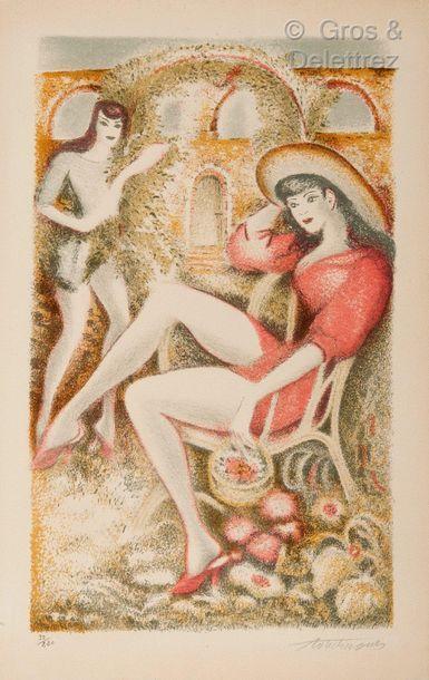 Louis TOUCHAGUES (1893-1974) Deux fillettes Lithographie en couleurs signée et numérotée...