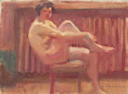 André MEAUX SAINT MARC (1885-1941)  Nu assis...