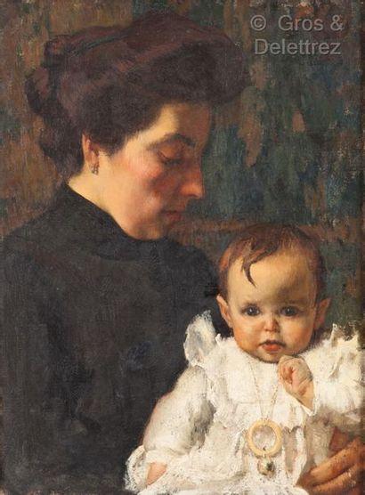 Georges LEROUX (1911-1997)  Femme et enfant...