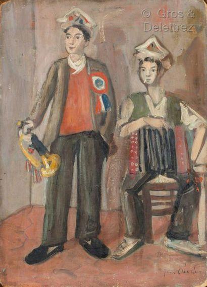 Jean OBERLE (1900-1941)  Les conscrits  Huile...