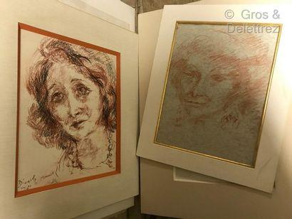 Eliane DIVERLY  Ensemble de dessins dont...