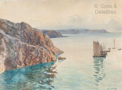 G. GODEFROY  Ile d'Ouessant, la côte rocheuse...