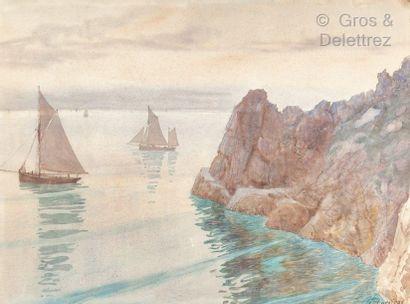 G. GODEFROY  Ile d'Ouessant  Aquarelle sur...