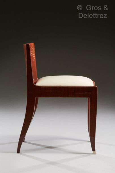JACqUes-éMIle rUhlMAnn (1879-1933) Siège de boudoir modèle « Tivo » en placage d'amarante...