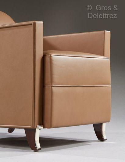 JACqUes-éMIle rUhlMAnn (1879-1933) Paire de fauteuils modèle « Hydravion Berger »...