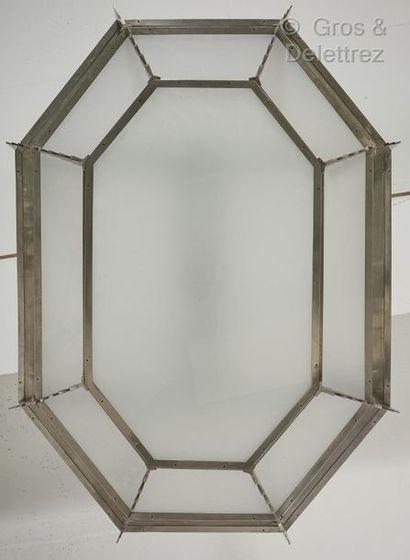 Georges-Marius BORETTI (XXe) Lustre moderniste à armature hexagonale à gradin en...