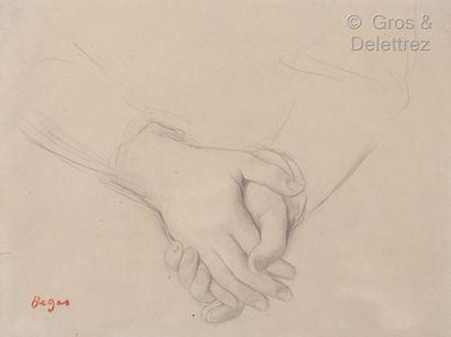 Edgar Degas (Paris 1834 - 1917) Étude de mains pour le portrait de mademoiselle Dubourg...
