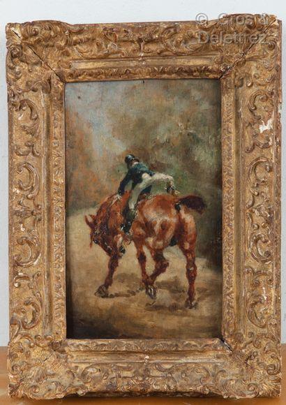 Henri de TOULOUSE-LAUTREC (1864-1901) Jeune cavalier enfourchant sa monture  Huile...