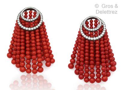 JAR « Rideau » - Importante paire de pendants d'oreilles en platine et or jaune,...