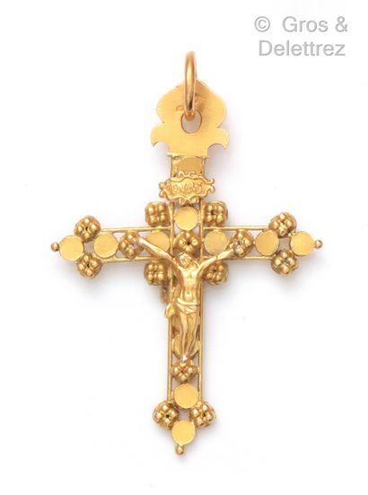 Pendentif «Croix» en or jaune, à décor...