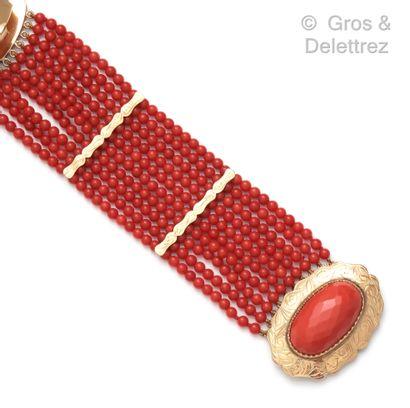 Bracelet souple en or jaune (14K), composé...