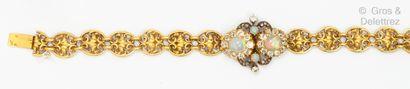 Bracelet souple en or jaune et vermeil, composé...