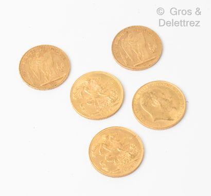 Lot de deux 20 Francs et trois souverains...