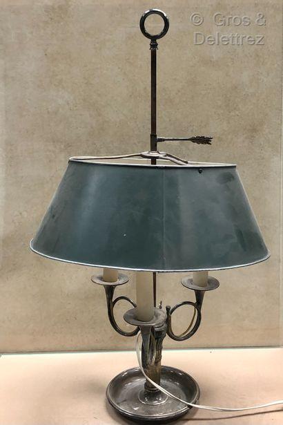 Lampe bouillotte en métal argenté à tois...