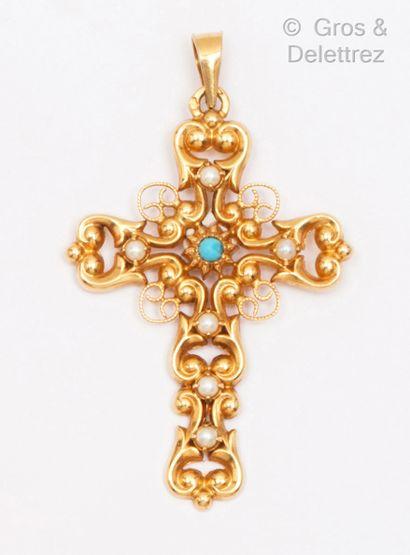 Pendentif «Croix»en or jaune ajouré de...