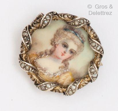 Broche en vermeil, ornée d'une miniature...