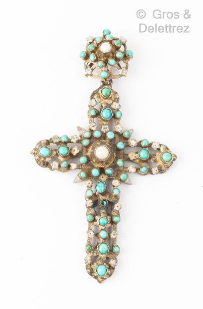 Pendentif «Croix» en argent, à décor de...
