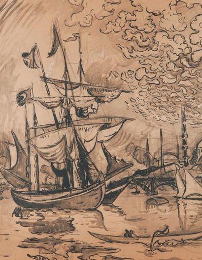 Paul SIGNAC (1863-1935) Barques devant les Mosquées de Constantinople Crayon, lavis...