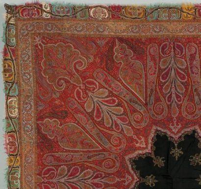 Un châle carré cashmere, Châle Indien fait...