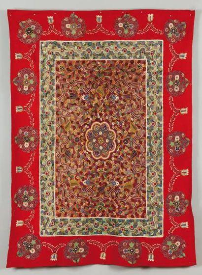 Une broderie Rescht, Iran A late 19th century...