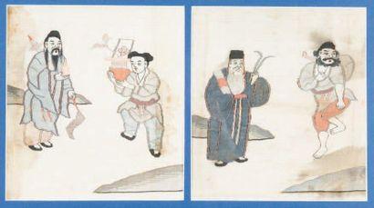 Deux Kosseu encadrés, Japon ou Chine? Fragmentés?...