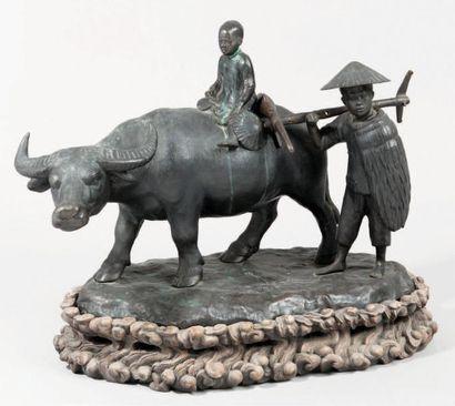 Important groupe en bronze représentant un...