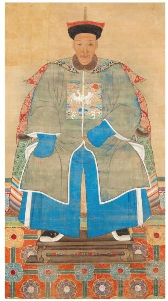 Peinture sur soie représentant un dignitaire...