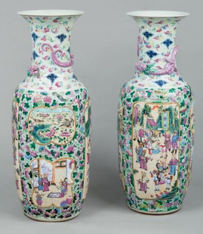Paire de vases balustres en porcelaine de...