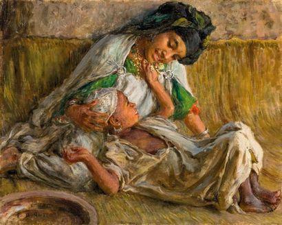 Étienne DINET (1861-1929) Fillette jouant avec son frère Huile sur toile, signée...