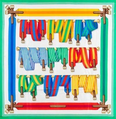 HERMÈS Paris made in France Carré en soie imprimée à décor de ceintures multicolores;...