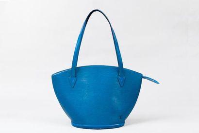 """LOUIS VUITTON Sac """"Saint Jacques"""" grand modèle en cuir épi bleu, fermeture éclair,..."""