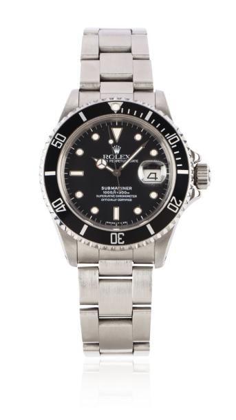 ROLEX SUBMARINER réf: 168000 vers 1989 Rare et belle montre de plongée en acier....