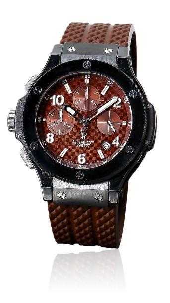 HUBLOT BIG BANG PARIS LEFT HAND CHOCOLATE vers 2010 Rare et beau chronographe bracelet...