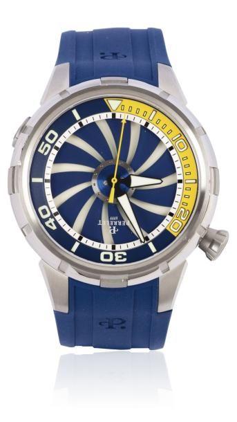 PERRELET TURBINE DIVER vers 2013 Grande montre de plongée en acier. Boîtier rond,...