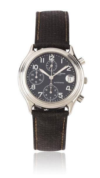 BAUME & MERCIER BAUMATIC vers 1990 Chronographe bracelet en acier. Cadran noir avec...