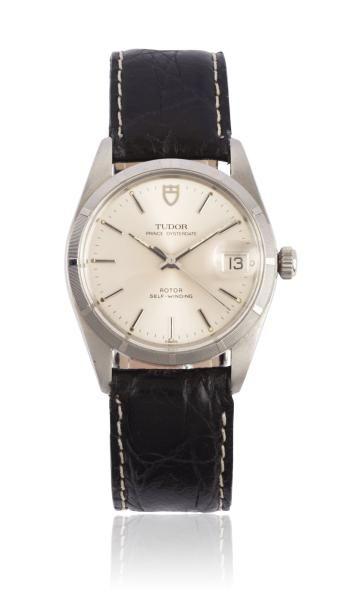 TUDOR PRINCE OYSTER DATE vers 1970 Montre bracelet en acier. Boîtier rond. Couronne...