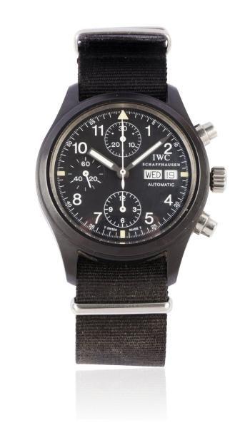 IWC FLIEGER CHRONOGRAPH Vers 2000 Chronographe bracelet en acier PVD noir. Boîtier...
