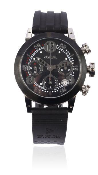BRM GP40 vers 2009 Chronographe bracelet en acier PVD noir. Boîtier rond. Fond saphir....